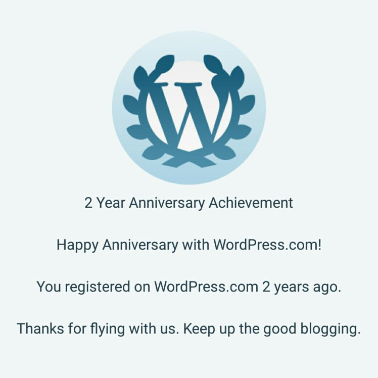 Here's the proof of completing two years on WordPress